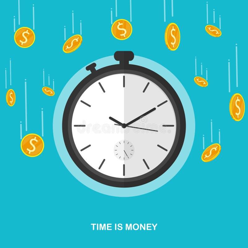 De tijd is dalende de chronometer vlakke vector van het geldmuntstuk royalty-vrije illustratie