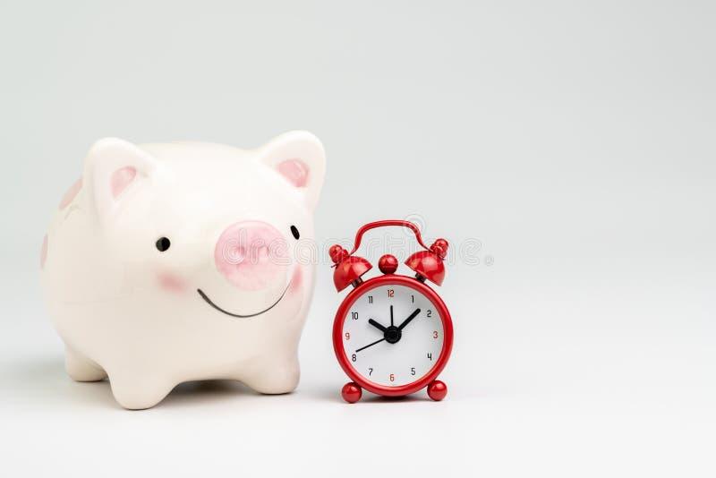 De tijd is geld of besparingen en investeringsconcept op lange termijn, glimlach roze spaarvarken met rode wekker op witte achter royalty-vrije stock foto