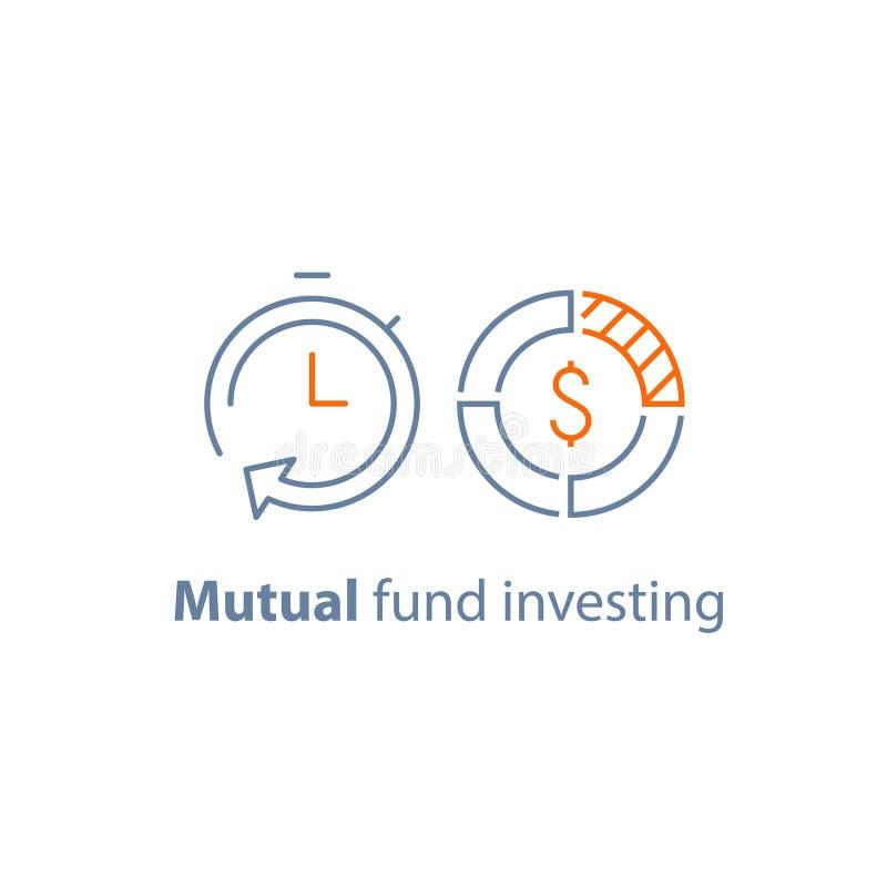 De tijd is geld, fondsbeheer, investering op lange termijn, financiële strategie, financiënoplossing, leningsgoedkeuring, pensioe royalty-vrije illustratie