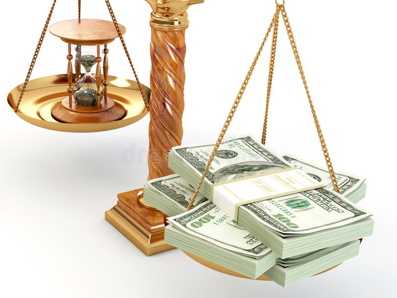 De tijd is geld. Geld en zandloper op schaal royalty-vrije illustratie