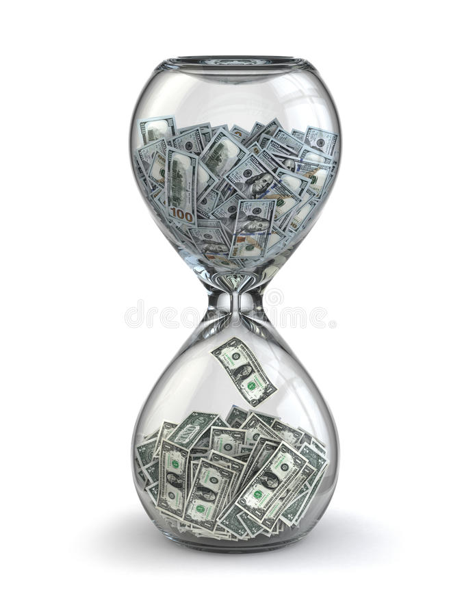 De tijd is geld. Inflatie. Zandloper en dollar. stock illustratie
