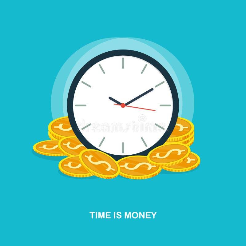 De tijd is geld, tijdbeheer, van het de stapelconcept van het bedrijfssuccesmuntstuk de vlakke vector vector illustratie