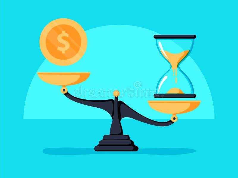 De tijd is geldconcept Clok en geldsymbolen op schaal Vector illustratie royalty-vrije illustratie