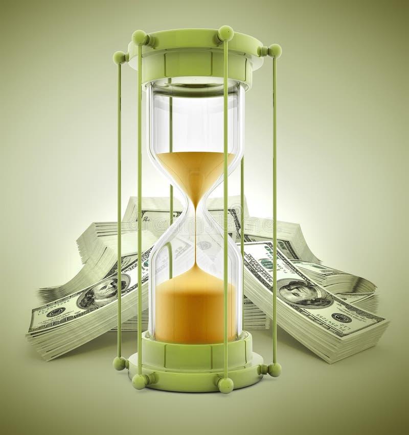 De tijd is geldconcept met zandklok en dollars stock illustratie