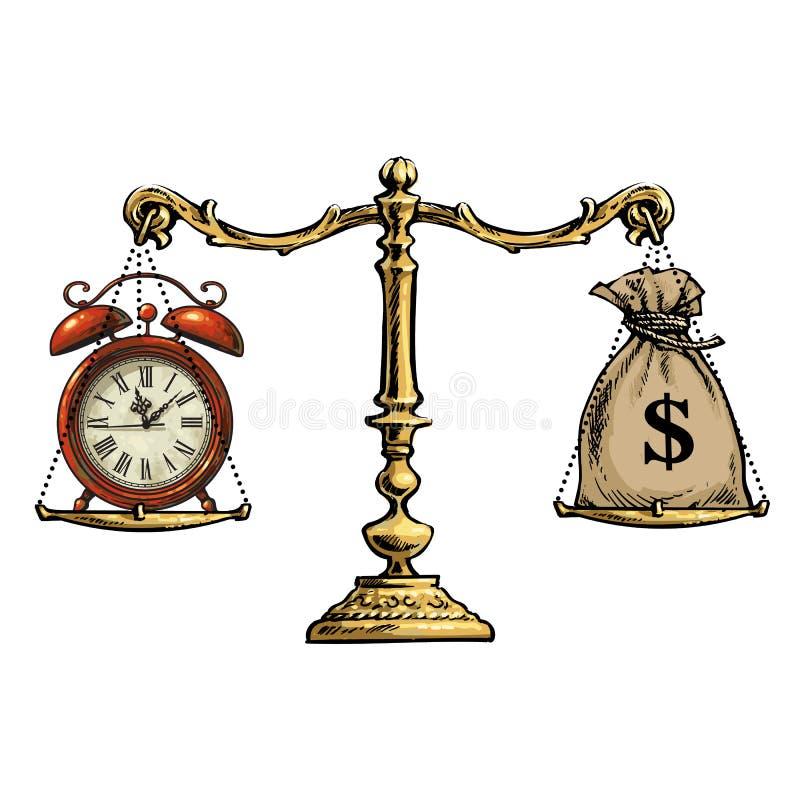 De tijd is geldconcept Zak van dollars en zakhorloge op schaal Vector vector illustratie