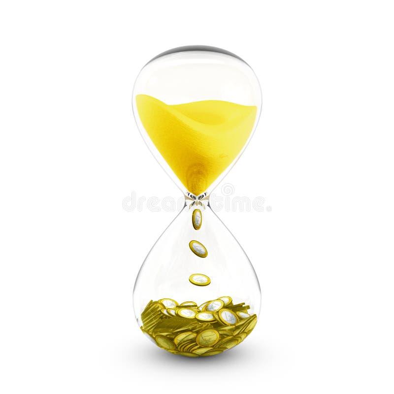 De tijd is geldconcept Zandloper die tijd aan muntstukken omzet stock illustratie