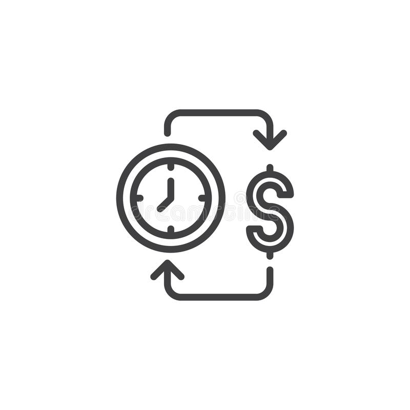 De tijd is het pictogram van het geldoverzicht royalty-vrije illustratie
