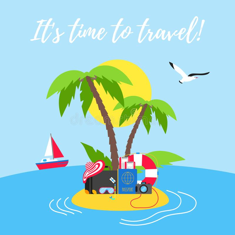De tijd om van de de vakantievakantie van het de zomerstrand te reizen de affiche of de banner vlakke stijl ontwerpt vectorillust royalty-vrije illustratie