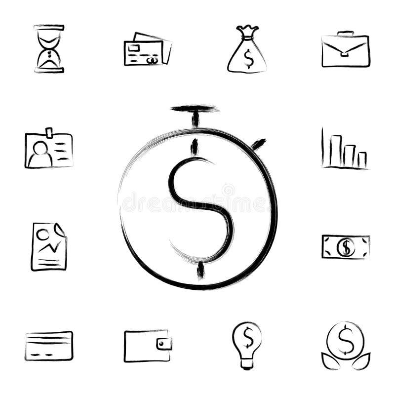 de tijd is de stijlpictogram van de geldschets Gedetailleerde reeks van bankwezen in de pictogrammen van de schetsstijl Premie gr royalty-vrije illustratie