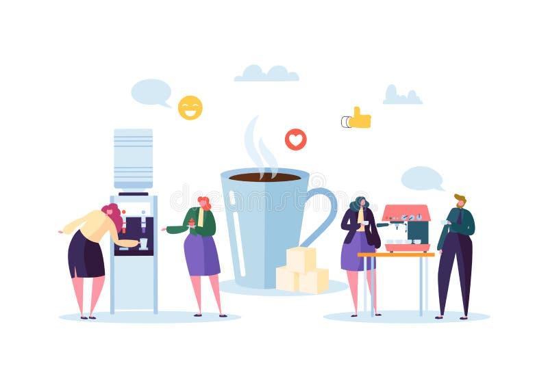 De Tijd van de bureaulunch Bedrijfsmensenkarakters op Koffiepauze Werknemers die, en Hete Dranken spreken rusten drinken stock illustratie