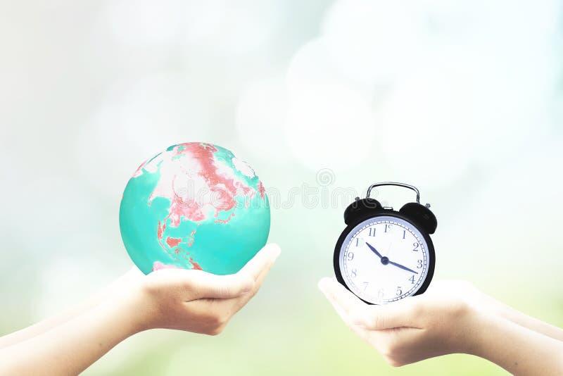 De Tijd van de het Uurlente van de ecologieaarde stock afbeelding