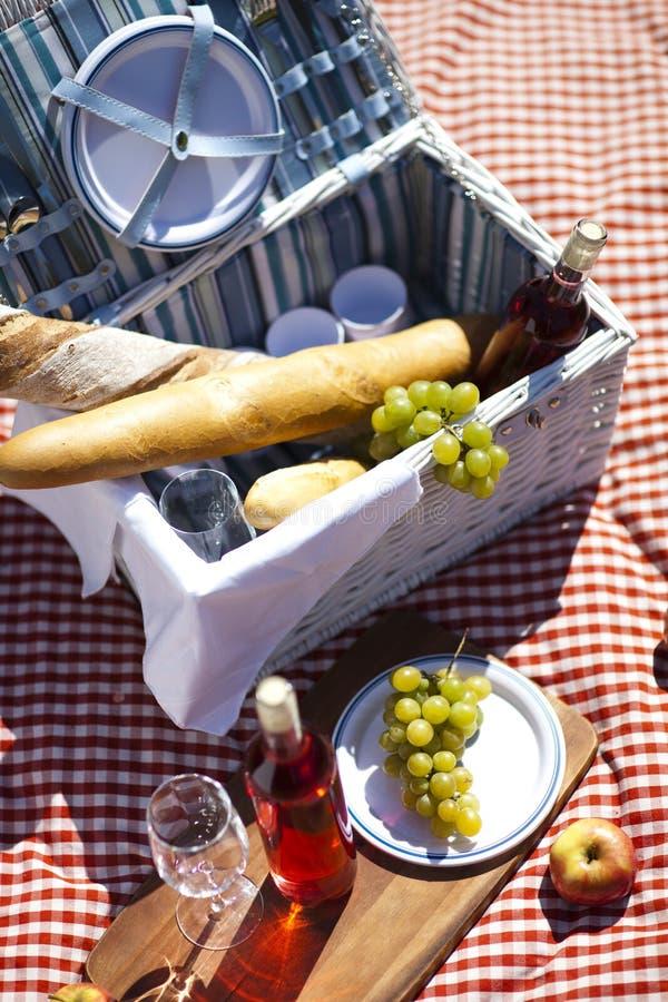 De Tijd van de picknick! voedsel op deken royalty-vrije stock foto's