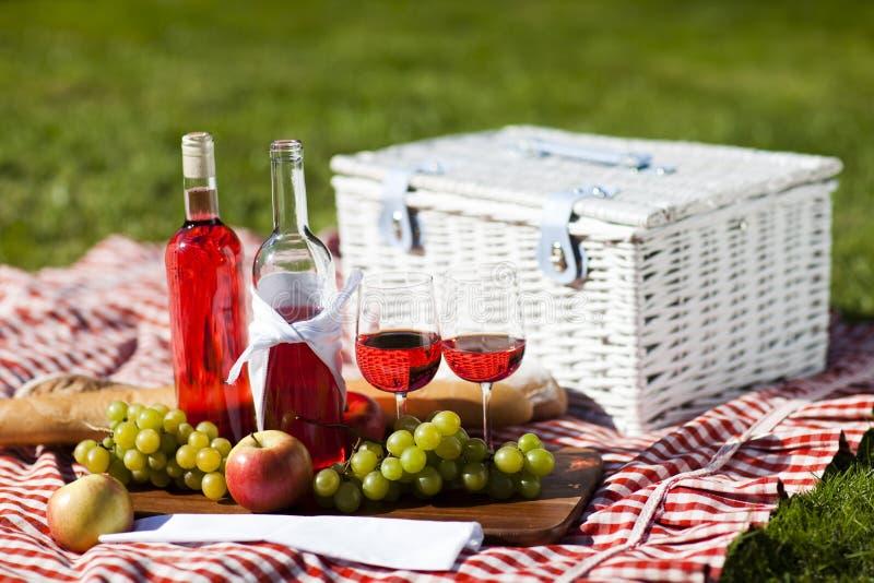 De Tijd van de wijn en van de picknick! stock foto's