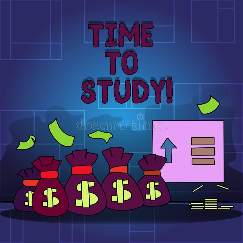 De Tijd van de handschrifttekst te bestuderen Het concept die Examens betekenen vergt vooruit concentraat in studies leert de les royalty-vrije illustratie