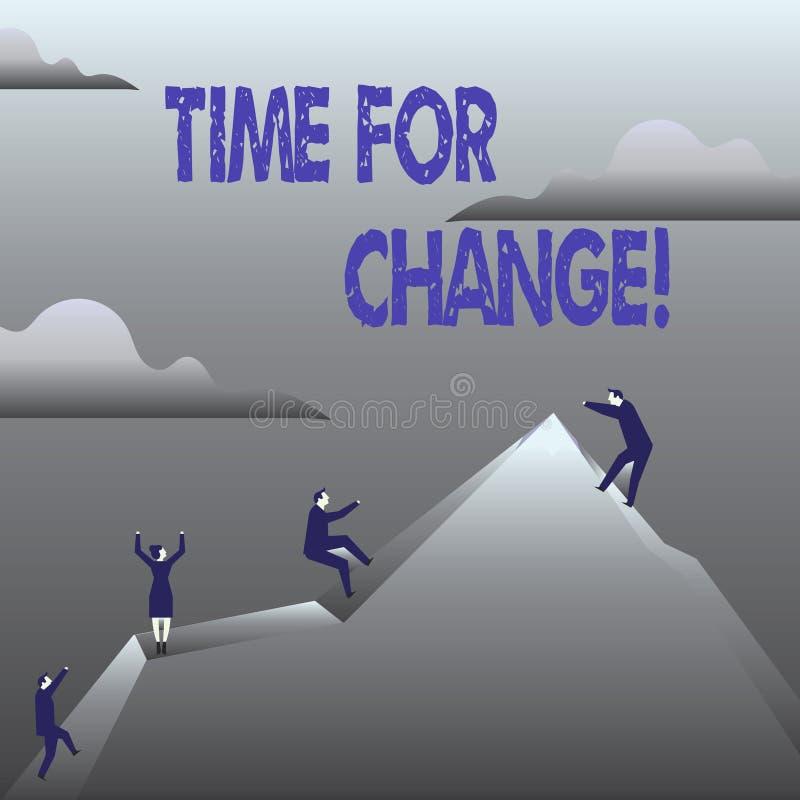 De Tijd van de handschrifttekst voor Verandering Concept betekenen die Nieuwe het Beginkans veranderen van de Ogenblikevolutie te stock illustratie