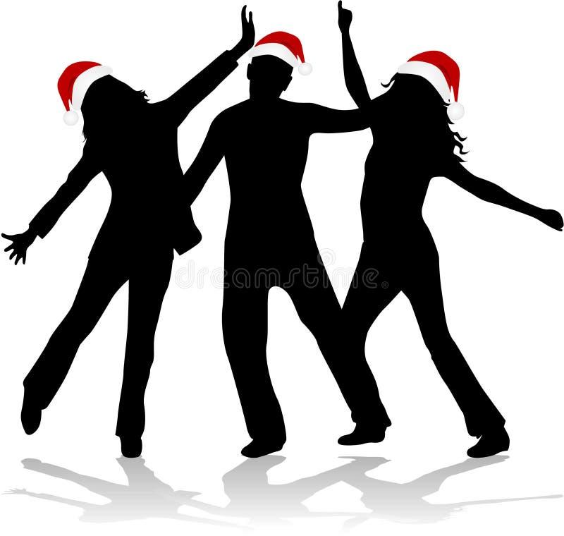 De Tijd van Kerstmis - dansende silhouetten vector illustratie