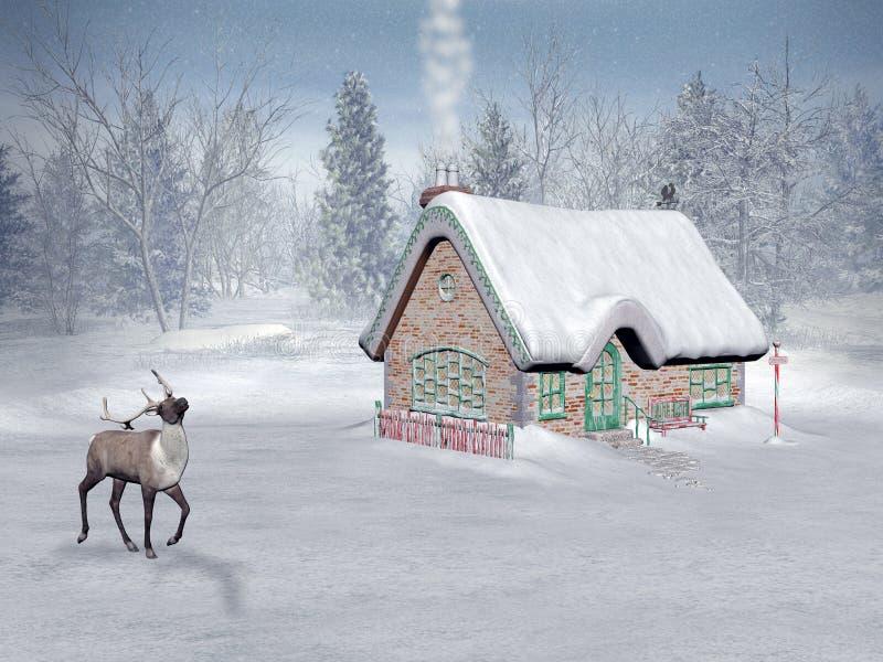 De tijd van Kerstmis, het plattelandshuisje van santa stock illustratie
