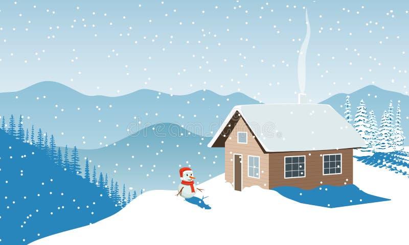 De tijd van Kerstmis De winter met huis, sneeuwman in santahoed, verre bergen, sneeuw, Sneeuwvlaag, zonlicht, schoorsteenrook, Sp stock illustratie