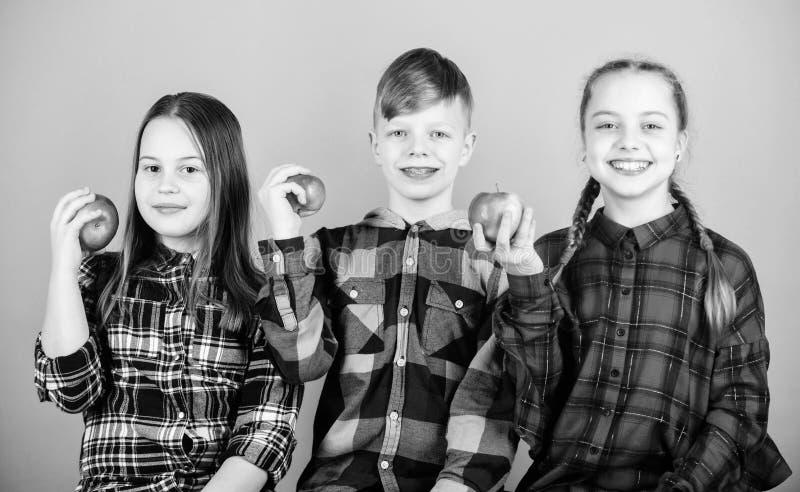 De tijd van de schoolsnack Het hebben van smakelijke snack Jongen en meisjes de vrienden eten appelsnack Tienerjaren met gezonde  stock foto's