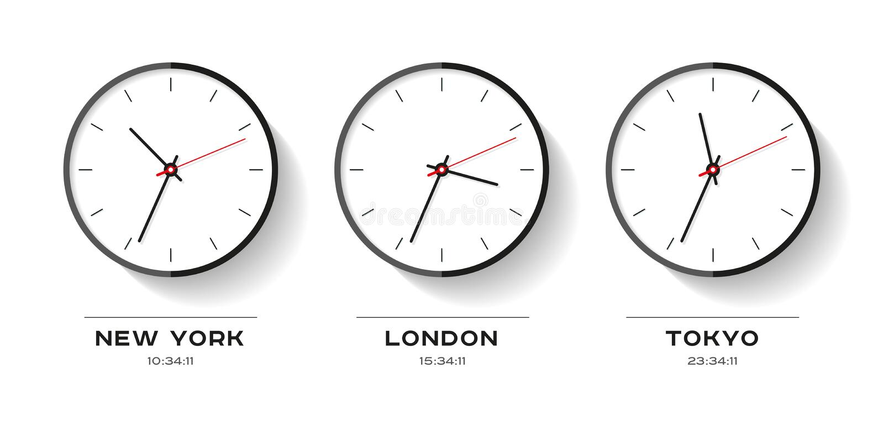 De tijd van de wereld Eenvoudige Klokpictogrammen in vlakke stijl New York, Londen, Tokyo Horloge op witte achtergrond Bedrijfsil vector illustratie