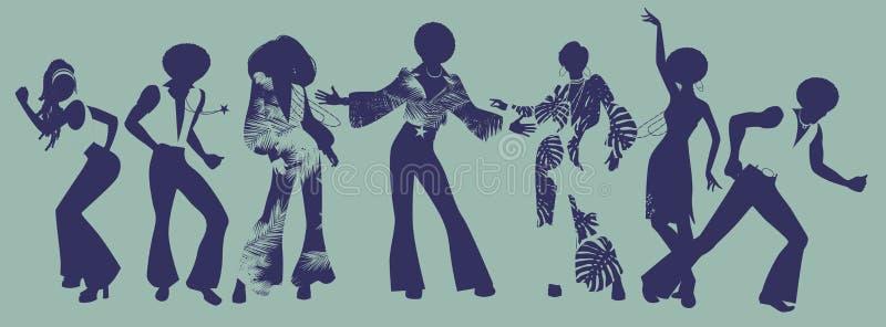 De Tijd van de zielpartij Dansers van ziel, lafbek of disco stock illustratie