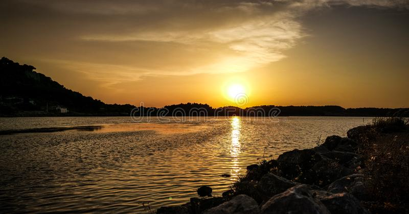 De tijd van de zonsondergangminnaar stock foto