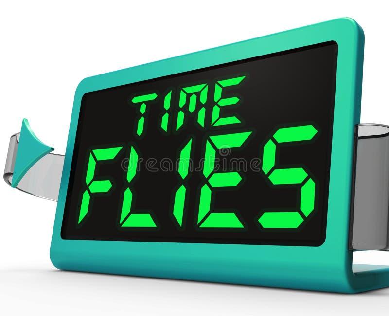 De tijd vliegt Bezige Klokmiddelen en gaat snel door vector illustratie
