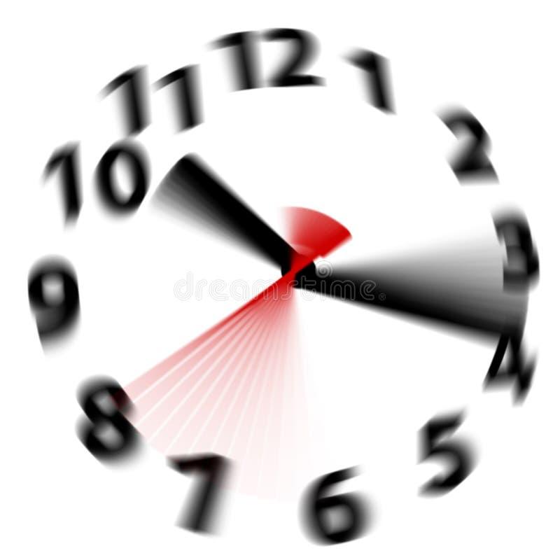 De tijd vliegt snelle de handenklok van het snelheidsonduidelijke beeld stock illustratie
