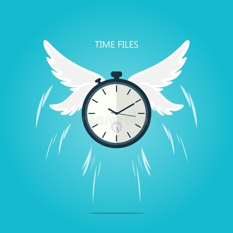 De tijd vliegt vleugel vlakke vector vector illustratie