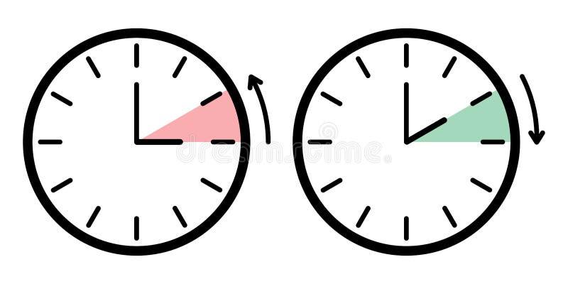 De tijd zwart wit teken van de dag licht besparing vector illustratie