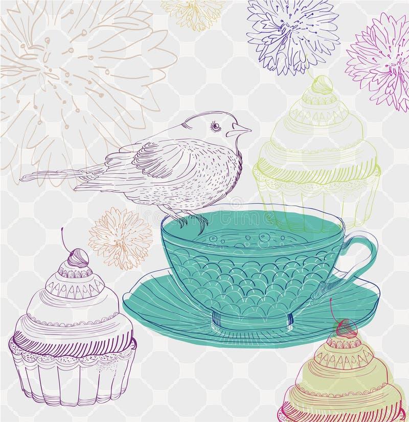 De tijdachtergrond van de thee met cupcakes en vogel stock illustratie