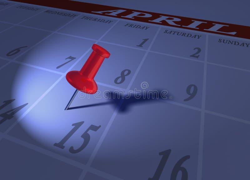 De tijdblauw van de belasting met rode punaise vector illustratie