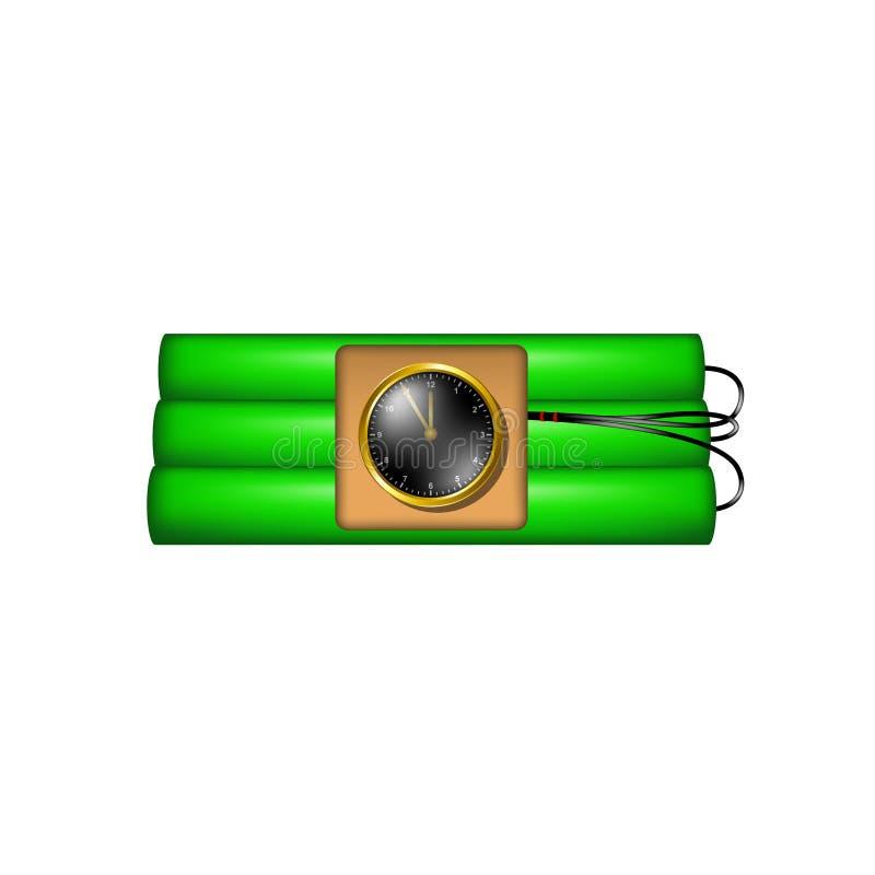 De tijdbom die aan klok wordt aangesloten explodeert vector illustratie