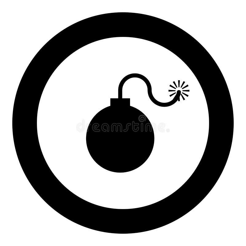 De tijdbomwapen van bom explosief militair Anicent met het concept van de brandvonk illustratie van de het pictogram de zwarte kl vector illustratie