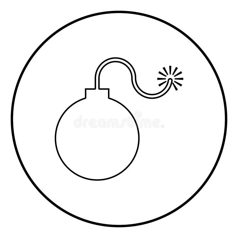 De tijdbomwapen van bom explosief militair Anicent met het concept van de brandvonk illustratie van de het pictogram de zwarte kl stock illustratie
