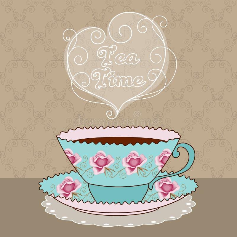 De tijdkaart van de thee stock illustratie