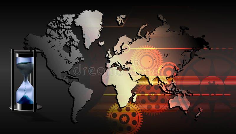 De Tijduur van de wereldzandloper met de technologieachtergrond die van de wereldkaart wordt geïsoleerd royalty-vrije illustratie