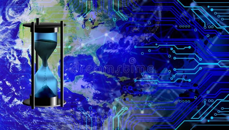 De Tijduur van de wereldzandloper met technologieachtergrond die wordt geïsoleerd stock illustratie