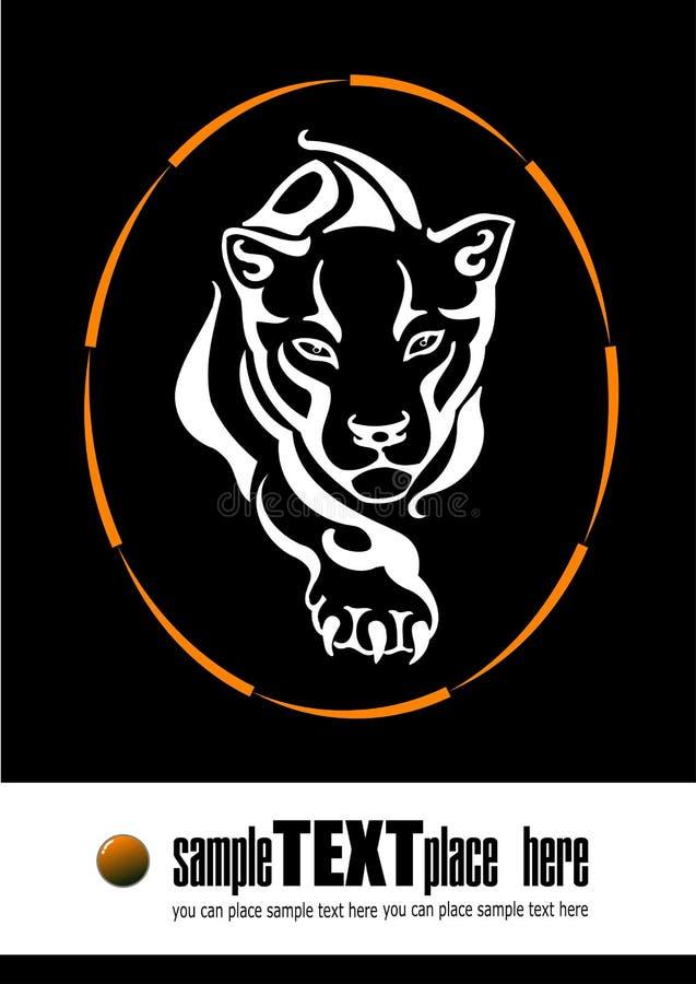 De tijger die door een ring van F springen, royalty-vrije illustratie