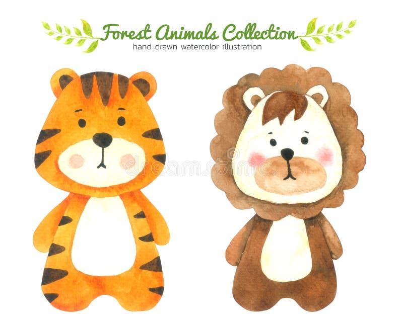De tijger en Lion Cartoon-de waterverfinzameling op witte achtergrond, getrokken Forest Animal Hand wordt geïsoleerd schilderden  stock illustratie