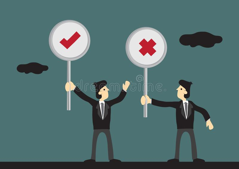 De Tik van de zakenliedenholding en de Dwarsillustratie van het Tekens Vectorbeeldverhaal stock illustratie