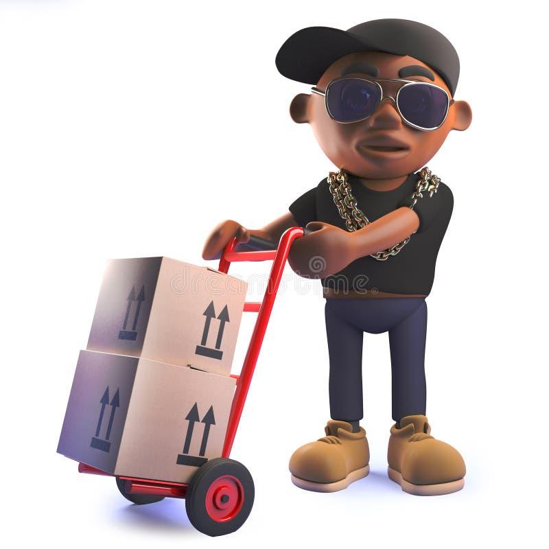 De tikkunstenaar van de beeldverhaal 3d zwarte Afrikaanse Amerikaanse hiphop met karretje en pakketten royalty-vrije illustratie