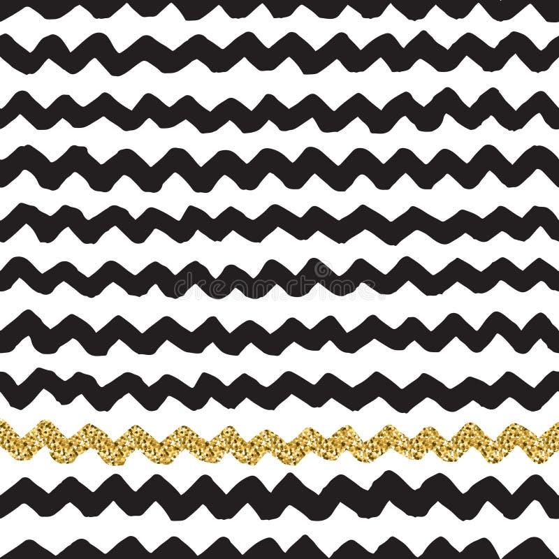 De tinta preta, branco e brilho do ouro vector o teste padrão de ziguezague sem emenda ilustração stock