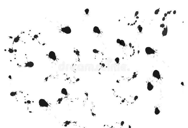 De tinta preta chapinhar, textura do respingo da aquarela no sumário branco ilustração royalty free