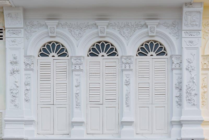 De tipo de tela de algodão velho da cidade de Phuket construção portuguesa do estilo imagem de stock