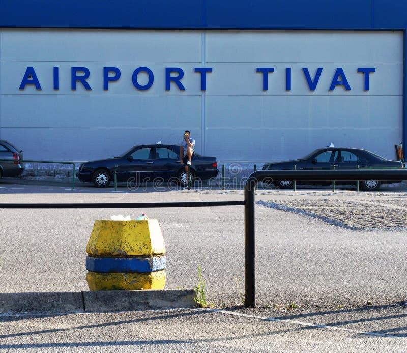 De Tivat-Luchthaven, of Aerodrom Tivat in Inwoner van Montenegro (TIV) royalty-vrije stock foto