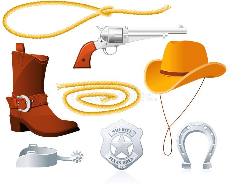 De Toebehoren van de cowboy vector illustratie
