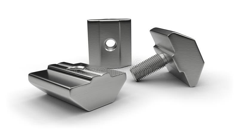 De toebehoren van het aluminiumprofiel (t-noten, T-bouten) stock illustratie