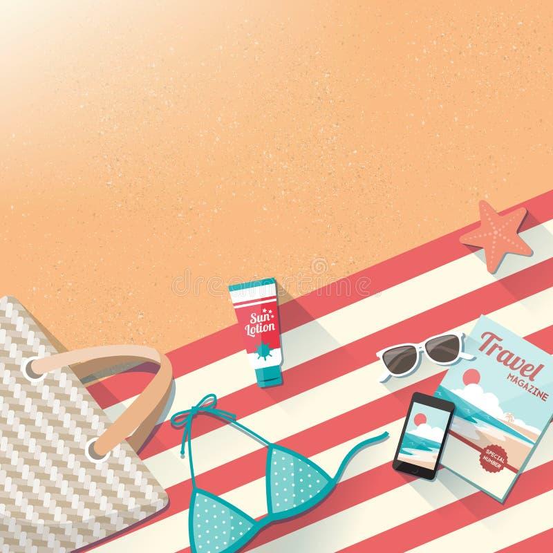 De toebehoren van het manierstrand op het zand vector illustratie