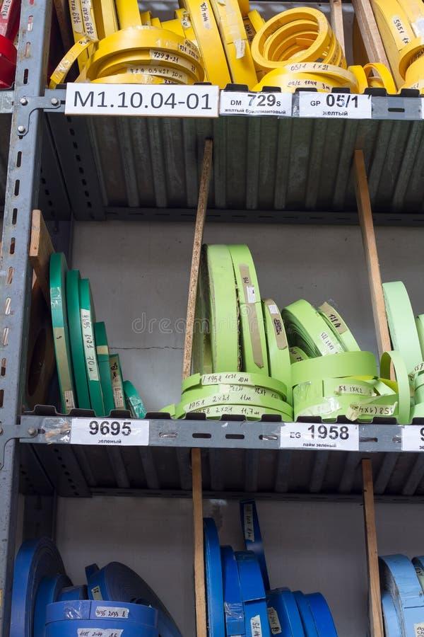 De toebehoren van het meubilair Multicolored spoelen van de rand en de melanine van pvc voor de vervaardiging van meubilair Lig p royalty-vrije stock foto